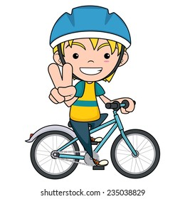 Child riding bike, vector illustration isolated white background