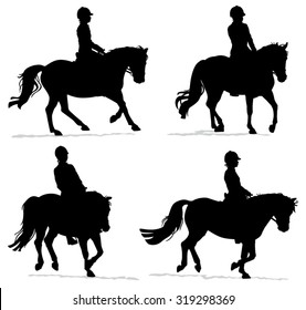 Child riding pony silhouette set - Little girl or boy with helmet riding horseback during riding lesson