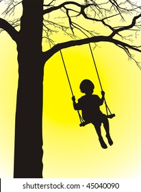 Child rocking on the swing, hinged on the tree