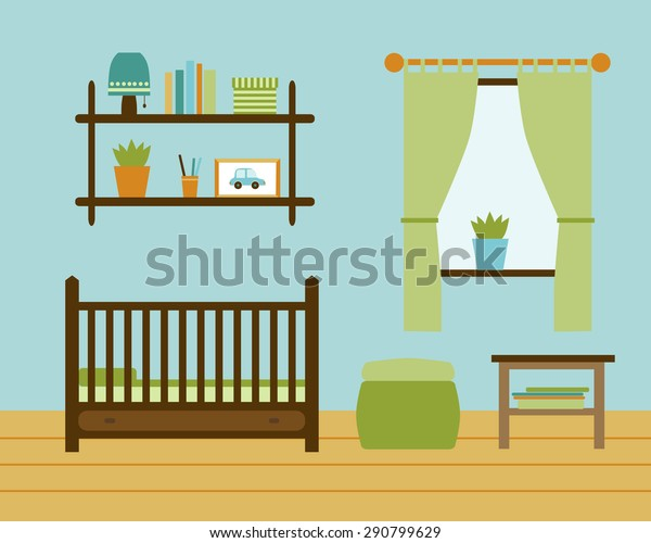Child room for the newborn boy. Baby room with furniture. Nursery interior. Vector file is easy to edit and ready for use.