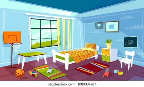 Illustration vectorielle de la chambre d'enfant garçon, arrière-plan intérieur. Dessin à plat dessiné pour adolescents mobilier de chambre lit, tiroir et chaise sur moquette, équipement de jeu de basket-ball et jouets