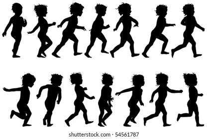 child running, black silhouettes, fourteen different postures