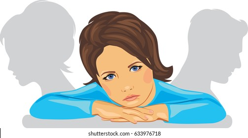 The child is sad because of the divorce of parents. Vector
