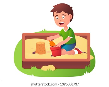 Child sandbox game. Happy smiling kid play in sand pit playground making toy bucket castle using shovel. Summer children activity. Flat vector character illustration