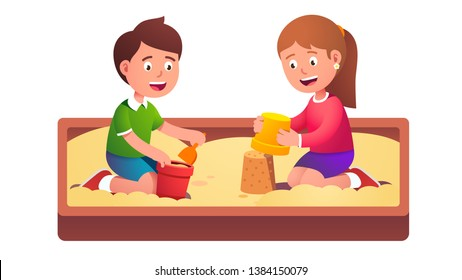 Child sandbox game. Two happy smiling kids friends playing together in sand pit playground making toy bucket castles together. Summer children activity. Flat vector character illustration