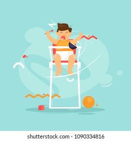 Child screams. Flat design vector illustration.