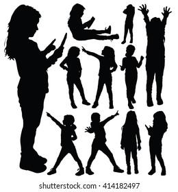 child set silhouette illustration in black color