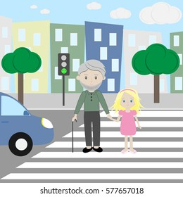 A child shepherds an elder man across the road on the crosswalk while traffic light shows green