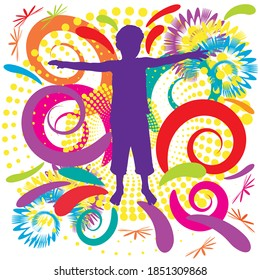 Child silhouette with colorful swirly background; purple silhouette with swirl effect in the back