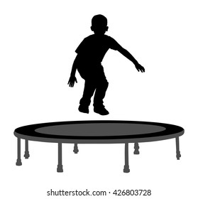 Child silhouette jumping on garden trampoline vector illustration. Happy boy jumping on trampoline.