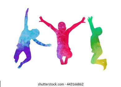 A child silhouette jumps. Vector