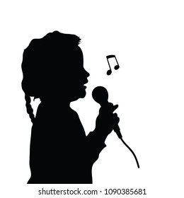 child silhouette singing illustration on white background