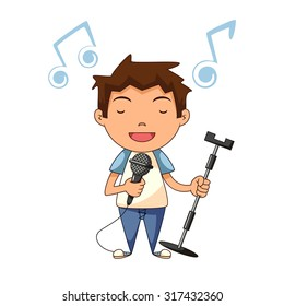 Child singing, vector illustration