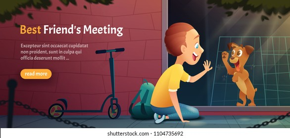 Child siting near a pet shop window and looking at a puppy dog. Kid and  dog meeting . Vector cartoon illustration.