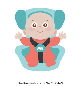The child sits in a car seat