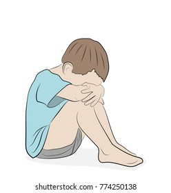 the child sits with his head on his knees. resentment. vector illustration.