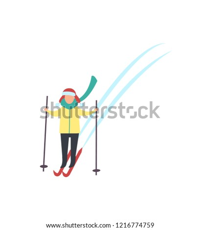 31eb6398fb Child skiing down hills with sticks in hands winter sport activity isolated  vector. Person in warm clothes goes ski running. Kids recreation at cold  weather ...
