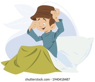 Child, sleepily, rubs his eyes. Little boy woke up in morning. Illustration concept for mobile website and internet development.