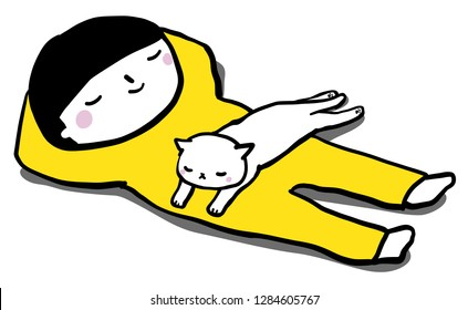 Child sleeping with a cat