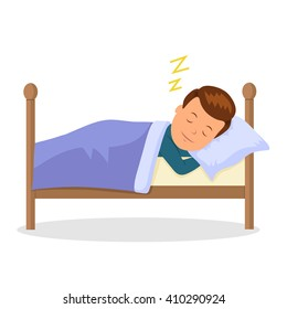 Child is sleeping sweet dream. Cartoon baby sleeping in a bed. Isolated vector illustration in the flat style