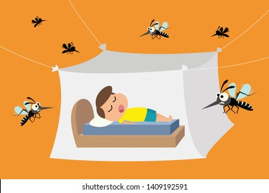 Child sleeping under mosquito net ,mosquito nets to protect from dengue fever, vector illustration