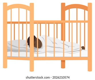 Child sleeps in bed in kids bedroom. African american baby lies in crib isolated on white background. Little dark skinned kid covered with blanket resting in bed. Toddler sleeps in childrens room