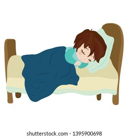 Child sleeps soundly in his or her bed. Clip art cartoon illustration on white background. Watercolour imitation.