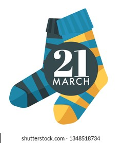 Child socks World down syndrome day isolated icon vector mental disease slow development solidarity and aid charity fund tolerance and help or aid care disability or handicap campaign emblem or logo
