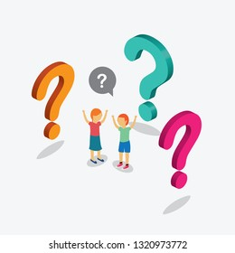 child standing with question mark