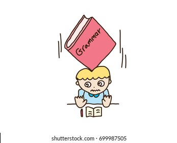 child studying grammar with very big grammar book falling on his head