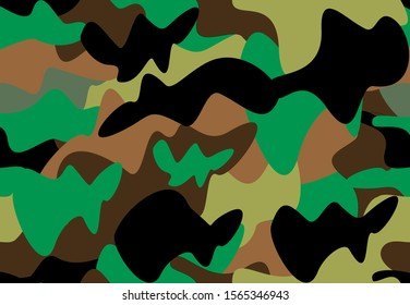 Child style camouflage print. Vector design. Black, green, brown, orchid doodle shapes. Military fabric design. Funky camo wallpapers