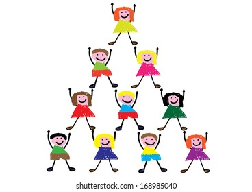 Child Style Drawing of Teamwork Concept. Vector