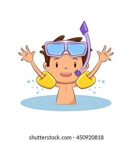 Child swimming, inflatable armbands, vector illustration