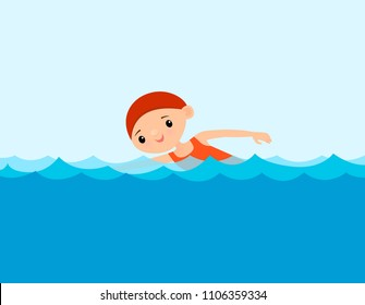 Child swimming in the water