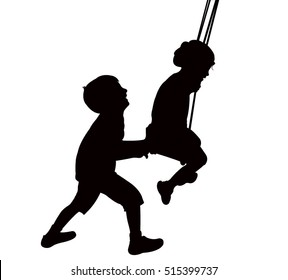 child swinging, silhouette vector