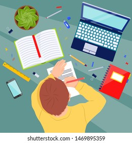 Child at the table with school supplies doing homework. Student with a pencil in his hands. Study vector concept