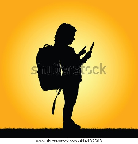 child with tablet illustration silhouette