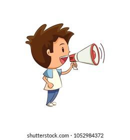 Child talking megaphone