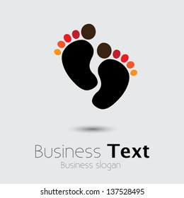 Child or toddler's colorful pair of footprint- vector graphic. This logo template can be representative of childhood days of the kid or naughty days as a baby, etc