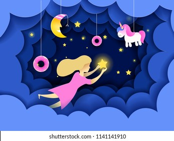 Child touching the stars in the sky. Kids dream vector illustration in paper art origami style. Paper cut design concept. Fairy tale wallpaper in baby room.