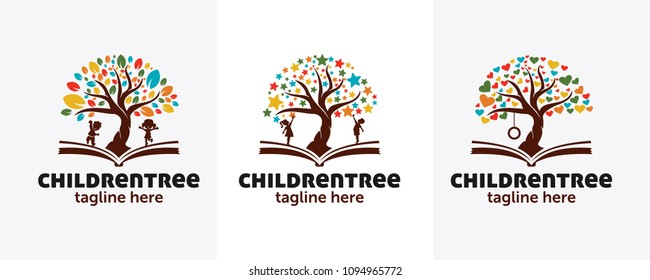 child tree logo with education