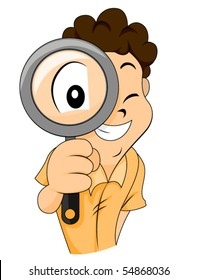Child using Magnifying Glass - Vector