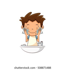 Child washing face