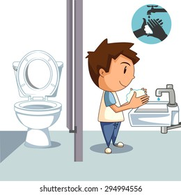 Child washing hands, bathroom