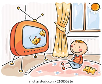 Child watching TV in his room