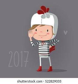 Child Wearing Costume of Chicken. Cute Vector Illustration