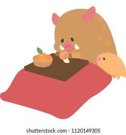 Child of the wild boar in a kotatsu