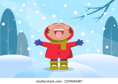 A child in the winter forest plays with snowflakes. Flat Vector Illustration