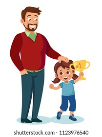 child won the competition and receives praise from her father. littel girl gets prize, proud father stroked her daughter's head. cartoon vector illustration