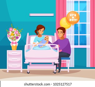 Childbirth cartoon composition with happy family with newborn boy in chamber of maternity hospital vector illustration